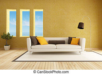 yellow living room with elegant sofa - rendering