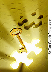 Concept with puzzle piece - Concept photo using piece of...