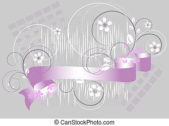 Flowers and purple ribbon on a gray