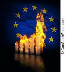 EU Ecomy Crash - European Union ecomy crashes, burning graph...