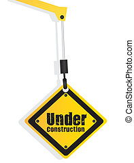 under construction sign hanging