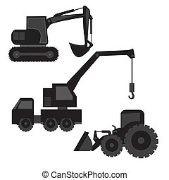 construction machinery silhouetted isolated on white...