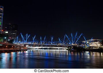 Brisbane City - Kurilpa Bridge At Night - Queensland -...