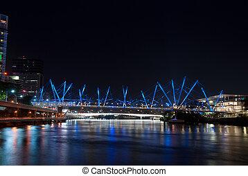 Brisbane City - Kurilpa Bridge At Night - Queensland - Australia