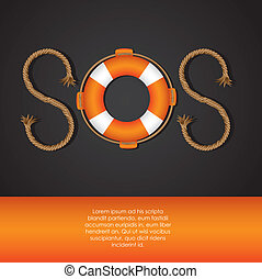 SOS signal - rope and float forming SOS signal, vector...