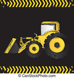 grunge backhoe black background, vector illustration
