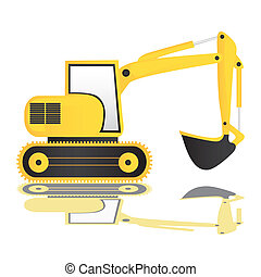 backhoe on white background with reflection, vector...
