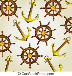 patrón, barco, anclas, timones