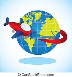 plane going around the planet, vector illustration