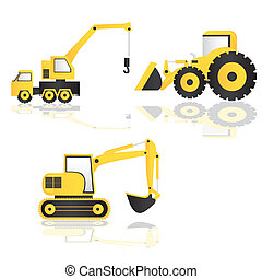 caricature of construction machinery, vector illustration