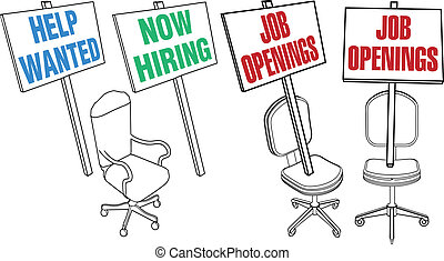 Office chair Help Wanted Job Hiring Icons - Job hiring sign...
