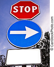 Blank traffic sign for text - Signpost with three different...