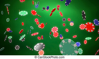 Casino color chips dropping green - The 3d rendering of...