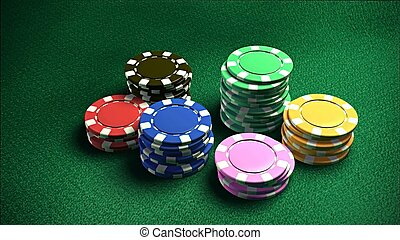 Casino 6 of chips 2 - The 3d rendering of difference colored...