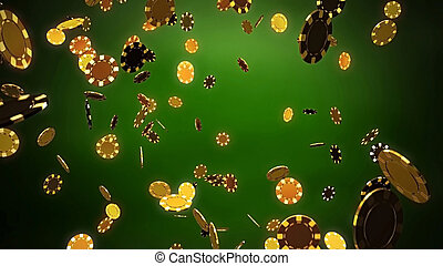 Casino gold chips with green background - The 3d rendering...