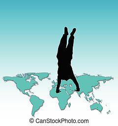 man standing on his hands on the world map
