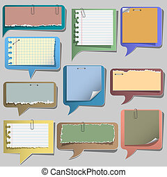 Torn paper speech bubbles