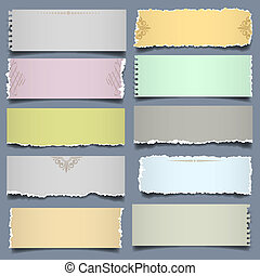 Ten notes paper in pastel colors. Vector eps 10