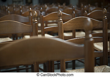 Row of chairs in auditorium
