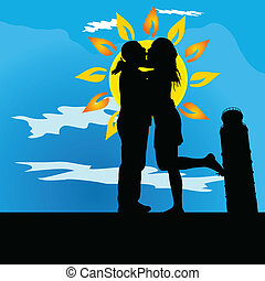 couple kissing by leaning tower of Pisa on blue background