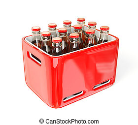bottles - Bottles in case isolated on a white background.