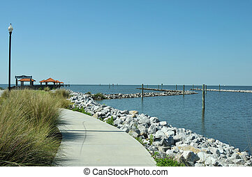 Ken Combs Pier in Bilox, Mississippi, at the edge of the...