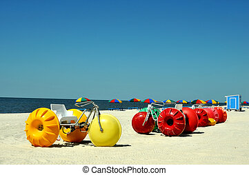 Biloxi Beach - Lounge chairs, umbrellas, and oversized...