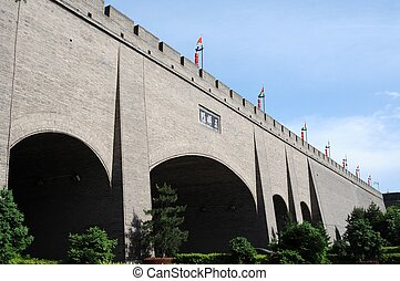 City wall of Xian - City wall in the ancient city of Xian...