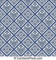 Seamless geometrical colorful gothic floral vector pattern