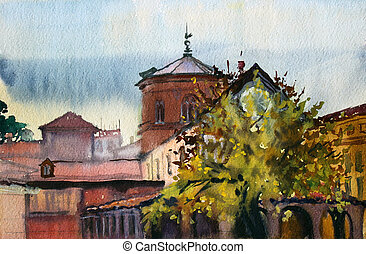 Roman cityscape painted by watercolor.
