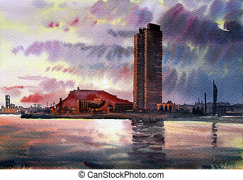 Barcelona cityscape painted by watercolor .