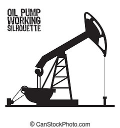 Silhouette of oil pump isolated on a white background,...