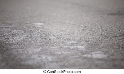 Two pair of man legs run in jogging shoes on wet asphalt at...