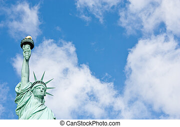 Statue of Liberty - Sunnny day, blue sky with clouds: statue...