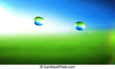 Drops collision in slow motion closeup. HD 1080. Green...