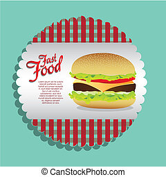 label burger on a blue background, vector illustration
