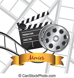 film background with icons, vector illustration