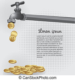 conceptual illustration of a dripping tap coins, vector...