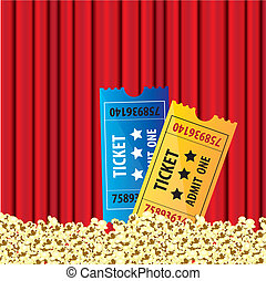 background Curtain movie with popcorn and movie tickets