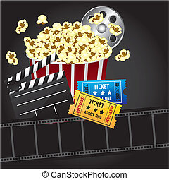 Background movie - popcorn with entries, movies, 3d glasses,...