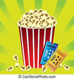 Illustration of popcorn with movie tickets on a green...