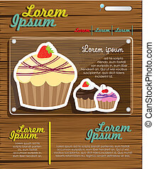 Web site design - Web site design cupcakes on wood, vector...