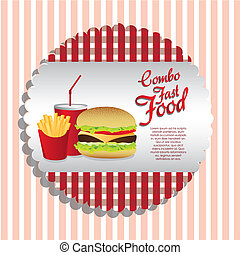 fast food combo with a sandwich french fries and soda,...