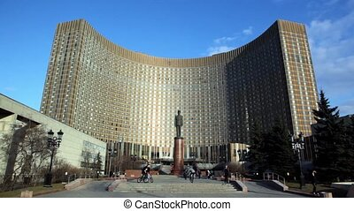 Monument to Charles de Gaulle in front of Cosmos hotel -...