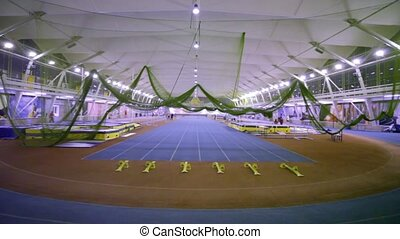 Eight straight running tracks at stadium - MOSCOW - NOVEMBER...