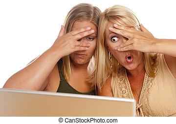 Two Shocked Women Using Laptop