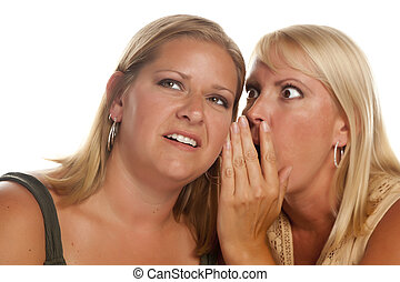 Two Blonde Woman Whispering Secrets Isolated on a White...