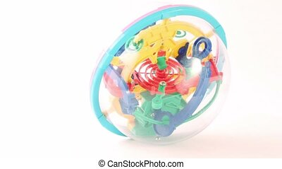 Three-dimensional toy puzzle lay isolated