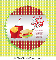 labels fast food combo with a french fries, soda and...
