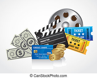 background of movies, contains entries, coins, bills, credit...